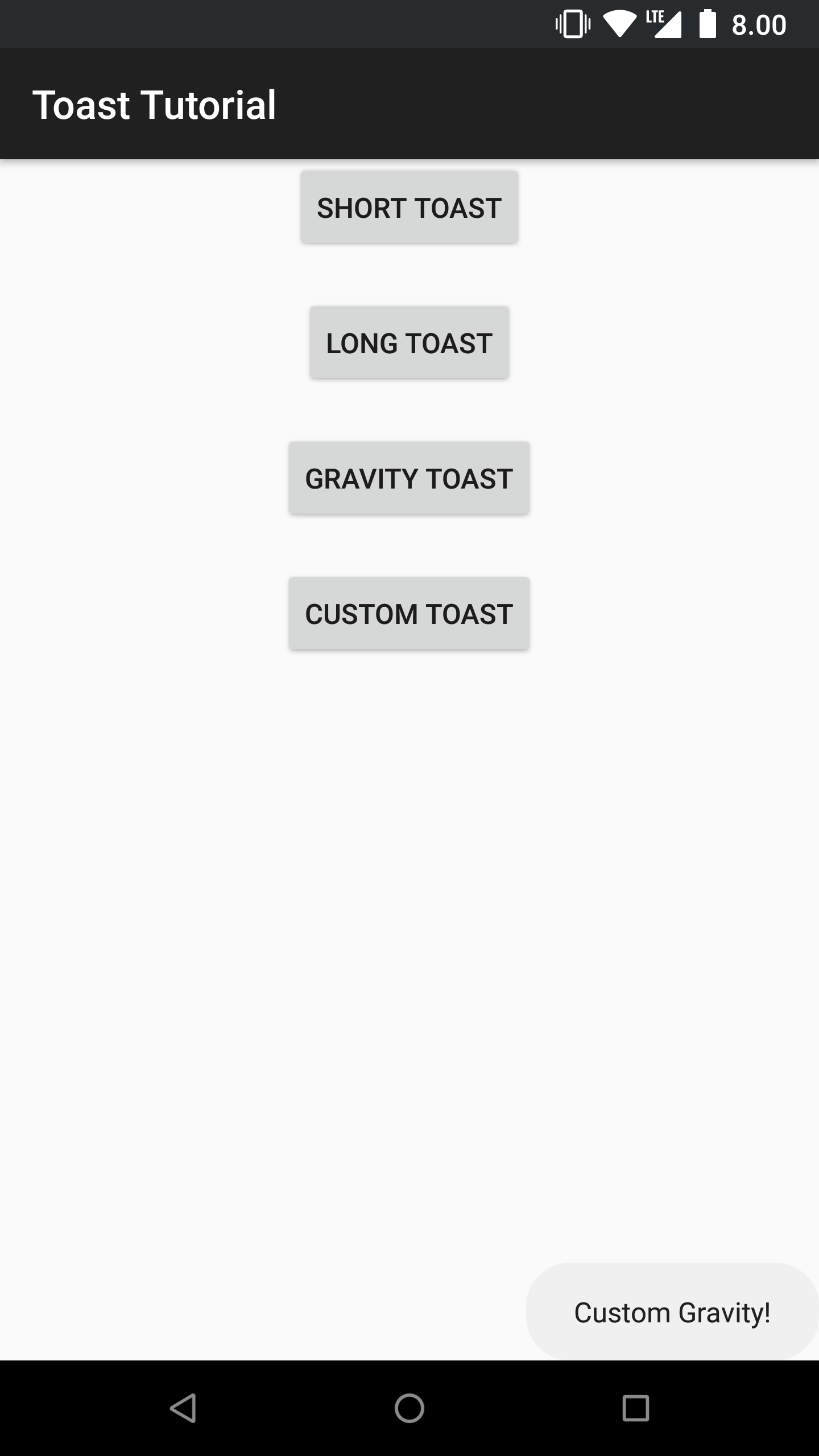 Toast with a custom gravity